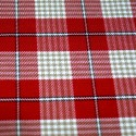 Tartan Plaid Check Polyviscose Fabric 150cm Wide, 190 gsm All Ranges 84B Beige & White On Red