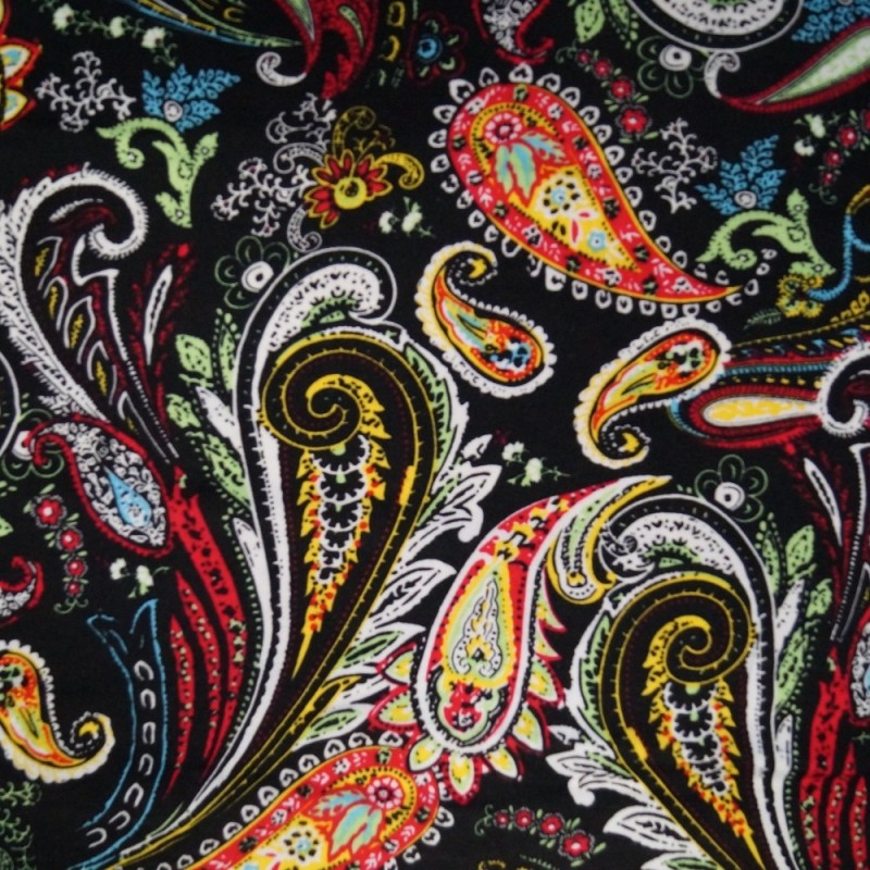 100% Viscose Fabric Summer Dress Floral Flower & Tribal Collection 140cm Wide Crazy Tribal Paisley