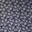 100% Viscose Fabric Summer Dress Floral Flower & Tribal Collection 140cm Wide White Floral Bunches on Navy