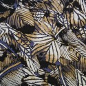 100% Viscose Fabric Summer Dress Floral Flower & Tribal Collection 140cm Wide Bunched Leaves Tan