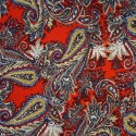 100% Viscose Fabric Summer Dress Floral Flower & Tribal Collection 140cm Wide Decorative Paisley Floral Red