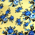 V1911 Blue on Yellow 100% Viscose Fabric Summer Dress Floral Flower & Paisley Floral Roses 140cm Wide