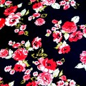 V1908 Red 100% Viscose Fabric Summer Dress Floral Flower & Paisley Floral Roses 140cm Wide