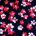 V1905 Red 100% Viscose Fabric Summer Dress Floral Flower & Paisley Floral Roses 140cm Wide