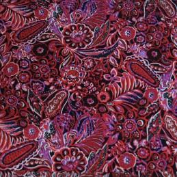 V1904 Cerise 100% Viscose Fabric Summer Dress Floral Flower & Paisley Floral Roses 140cm Wide