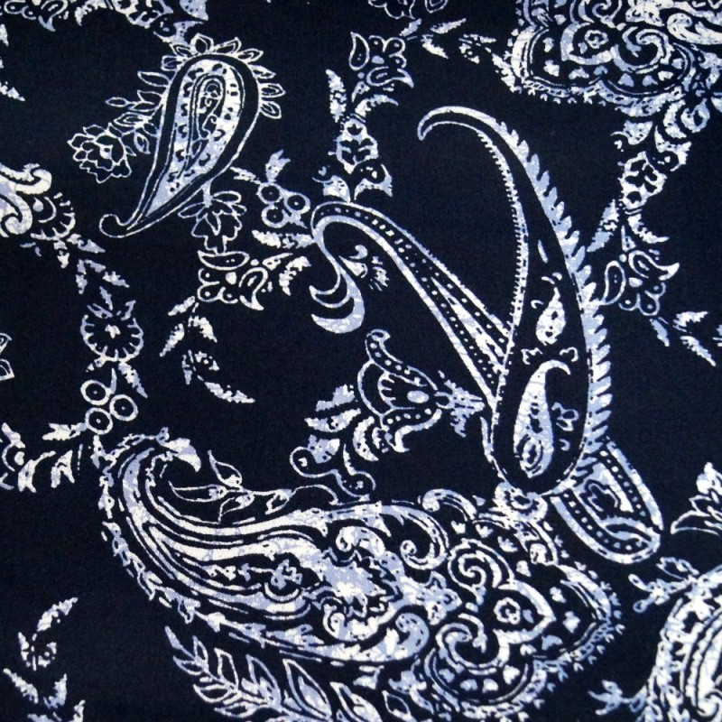 V1923 Navy 100% Viscose Fabric Summer Dress Floral Flower & Paisley Floral Roses 140cm Wide
