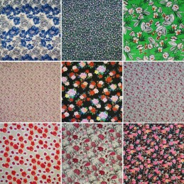 100% Viscose Dress Fabric Floral Flower Colourful Leaves Pink Summer 140cm Wide