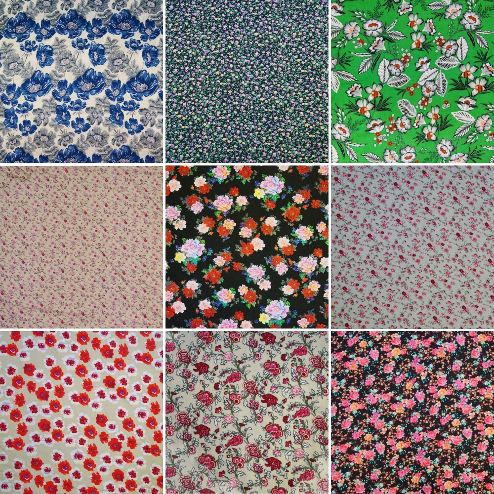 100% Viscose Dress Fabric Floral Flower Colourful Leaves Pink Summer 140cm Wide Tropical Flowers and Leaves Green