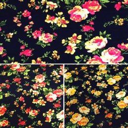 100% Cotton Poplin Fabric By Fabric Freedom Roses Floral Flowers Leaves On Navy
