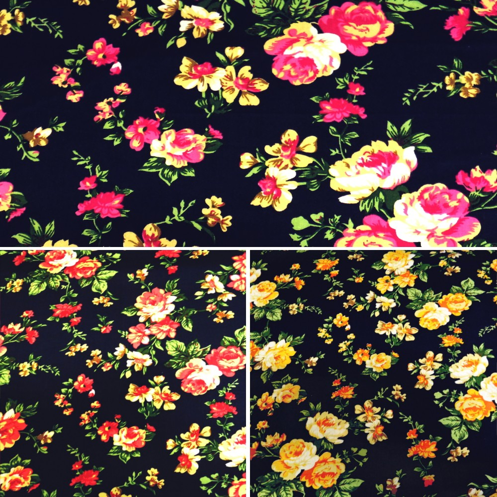 Yellow 100% Cotton Poplin Fabric By Fabric Freedom Roses Floral Flowers Leaves On Navy