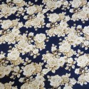 Navy 100% Cotton Poplin Fabric By Fabric Freedom White Roses Bushes Floral Flowers