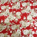 Red 100% Cotton Poplin Fabric By Fabric Freedom White Roses Bushes Floral Flowers