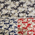 100% Cotton Poplin Fabric By Fabric Freedom White Roses Bushes Floral Flowers