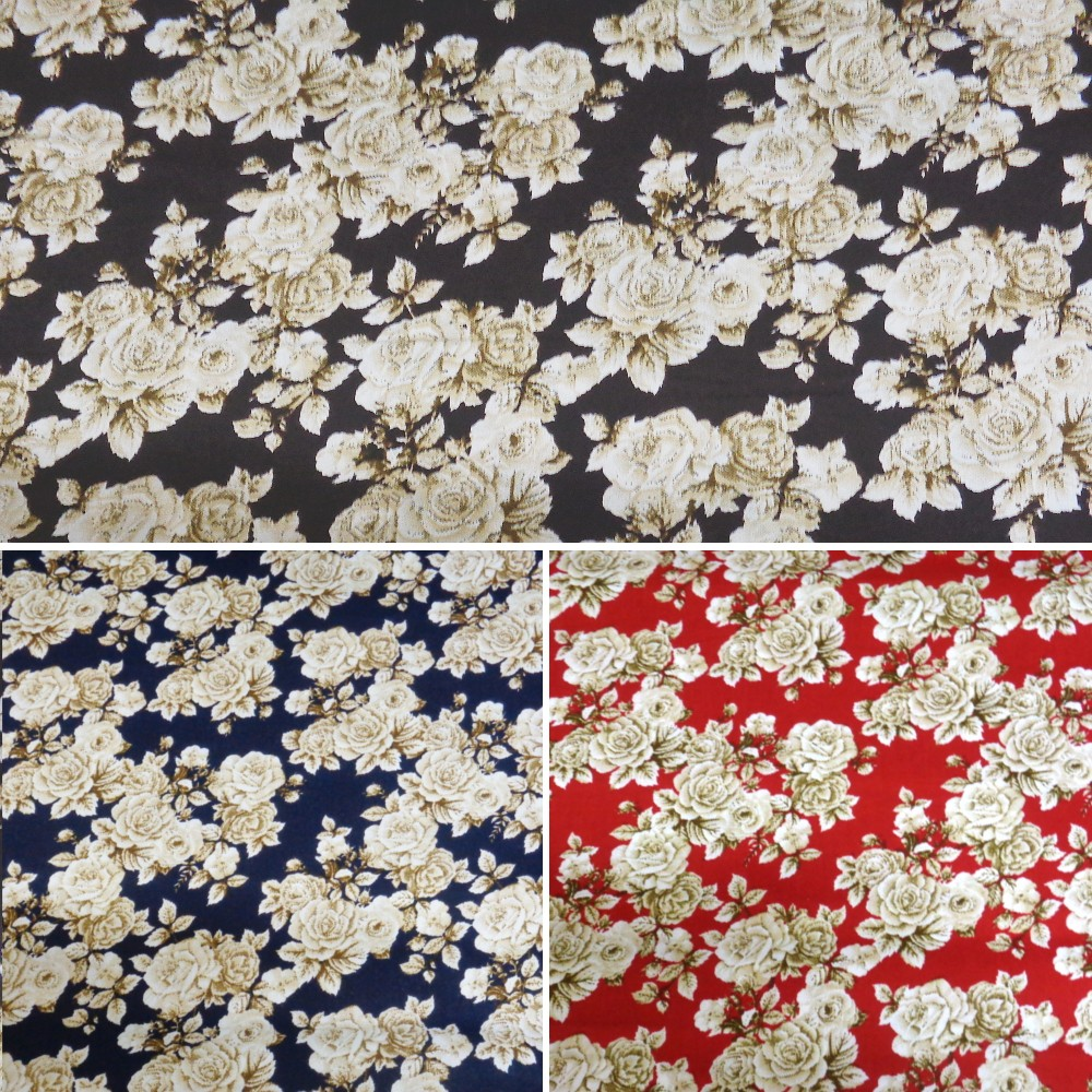 Brown 100% Cotton Poplin Fabric By Fabric Freedom White Roses Bushes Floral Flowers
