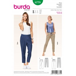 Burda Sewing Pattern 6770 Casual Trousers Pockets Knot Tie