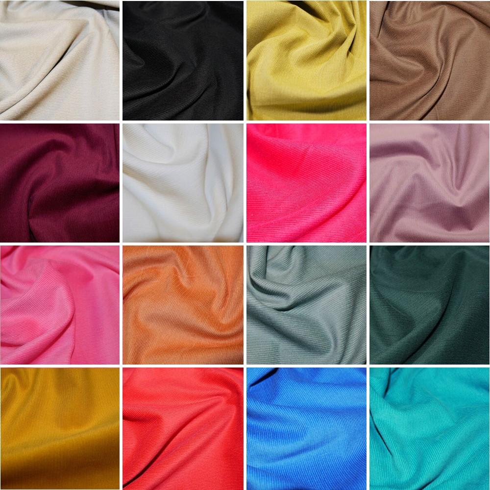 Black Plain 21 Wale Cotton Corduroy Fabric John Louden Soft Needlecord 140cm Wide