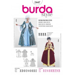 Burda Sewing Pattern 2447 Woman's Vintage Costume Rococo Marie Antoinette Dress