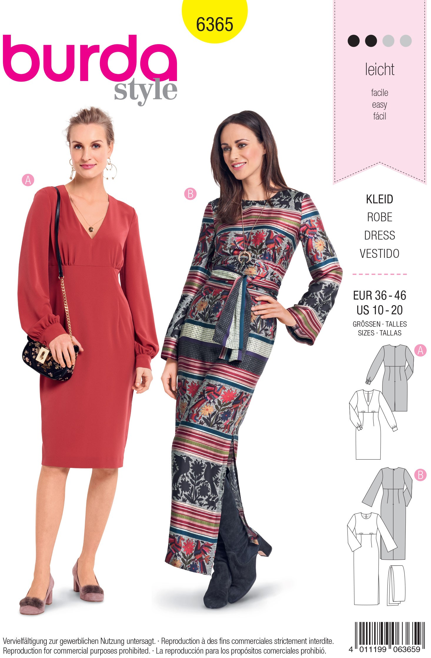 Burda Sewing Pattern 6365 Woman's Semi Form Fitting V Neck Dress