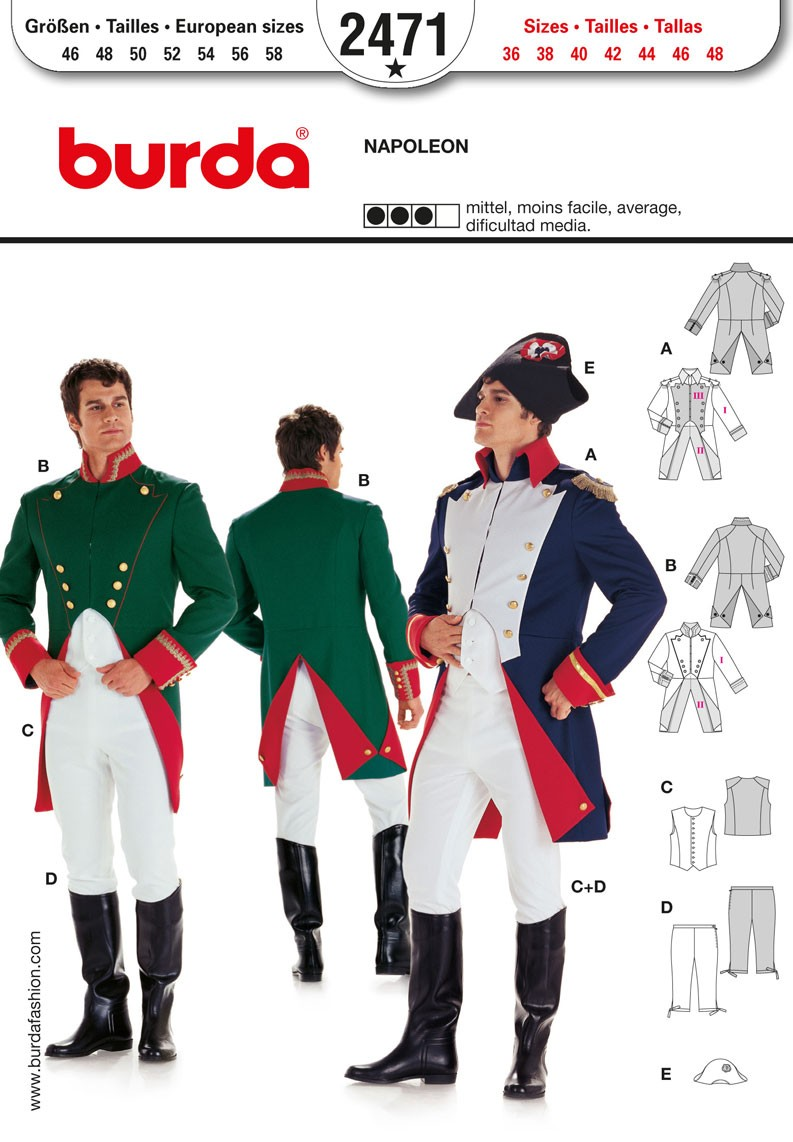 Burda Sewing Pattern 2471 Man's Napoleon Historical Uniform Costume
