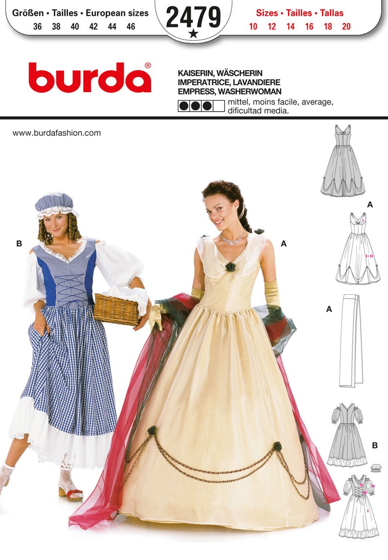 Burda Sewing Pattern 2479 Woman's Express and Washerwoman Costume