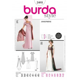 Burda Sewing Pattern 2493 Woman's Josephine Empire Dress Costume