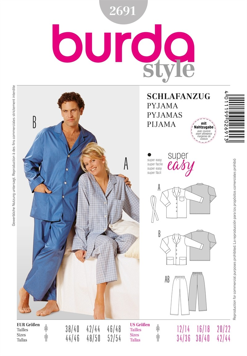 Burda Sewing Pattern 2691 Woman's & Men's Pyjamas Sleep Wear