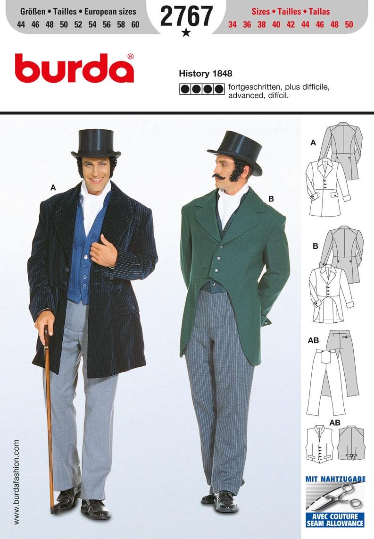Burda Sewing Pattern 2767 Men's Historical 1848 Formal Suit Cosume