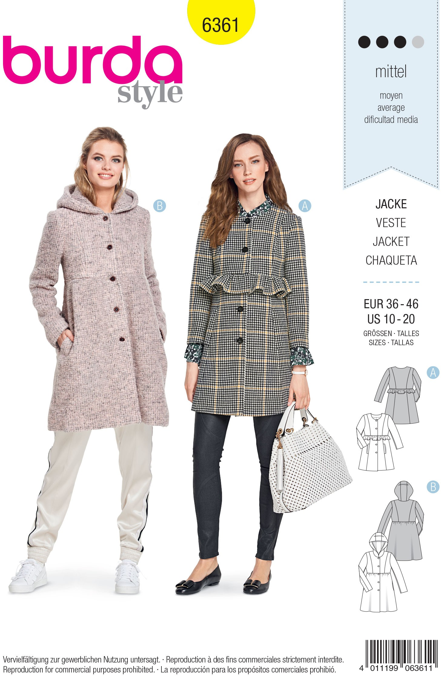 Burda Sewing Pattern 6361 Style Misses' Smart Formal Coat Jacket