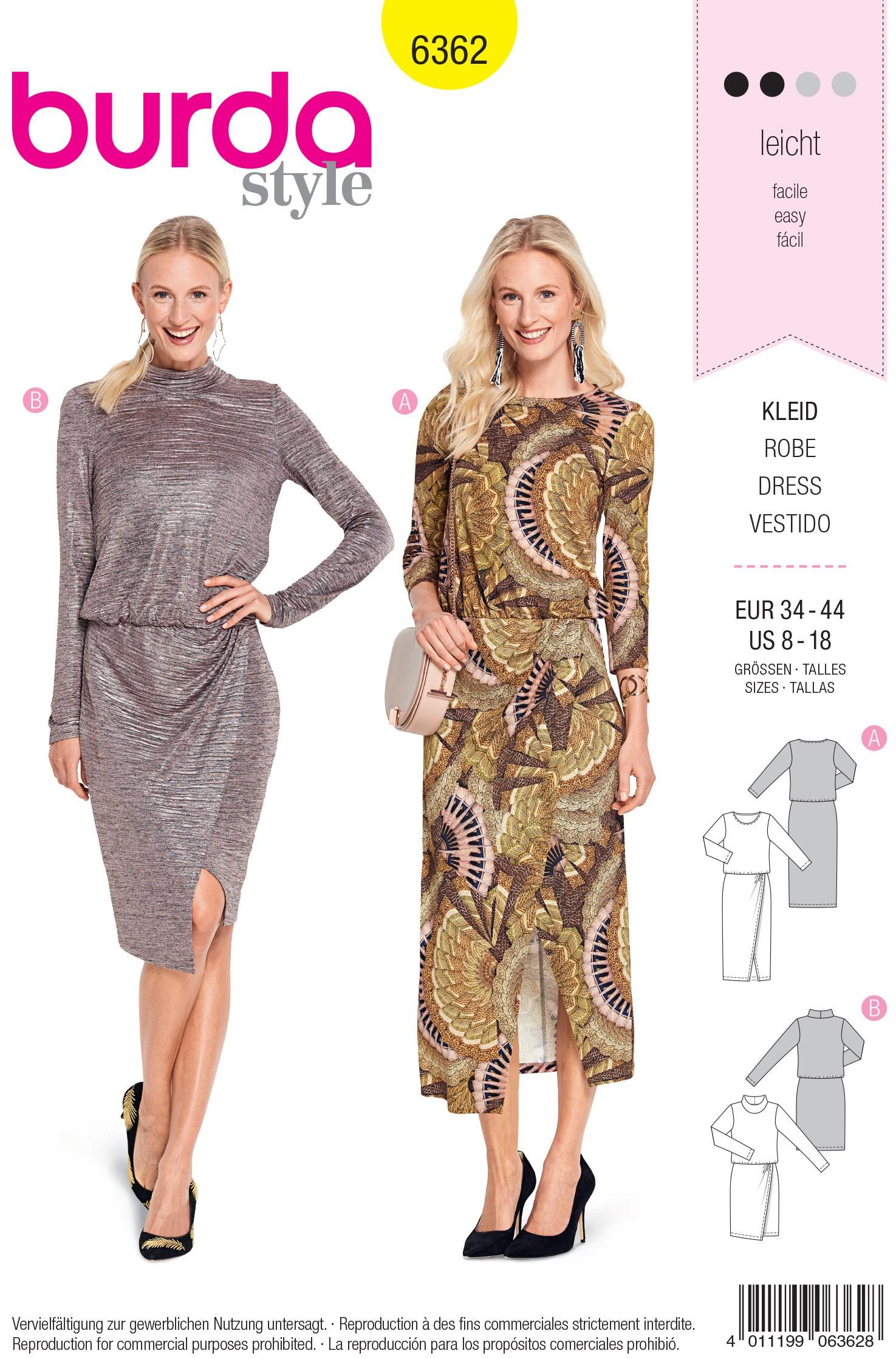 Burda Sewing Pattern 6362 Style Woman's Jersey Smart Formal Dress