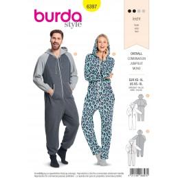Burda Sewing Pattern 6397 Woman's and Men's Unisex Hooded Pyjama Jumpsuit