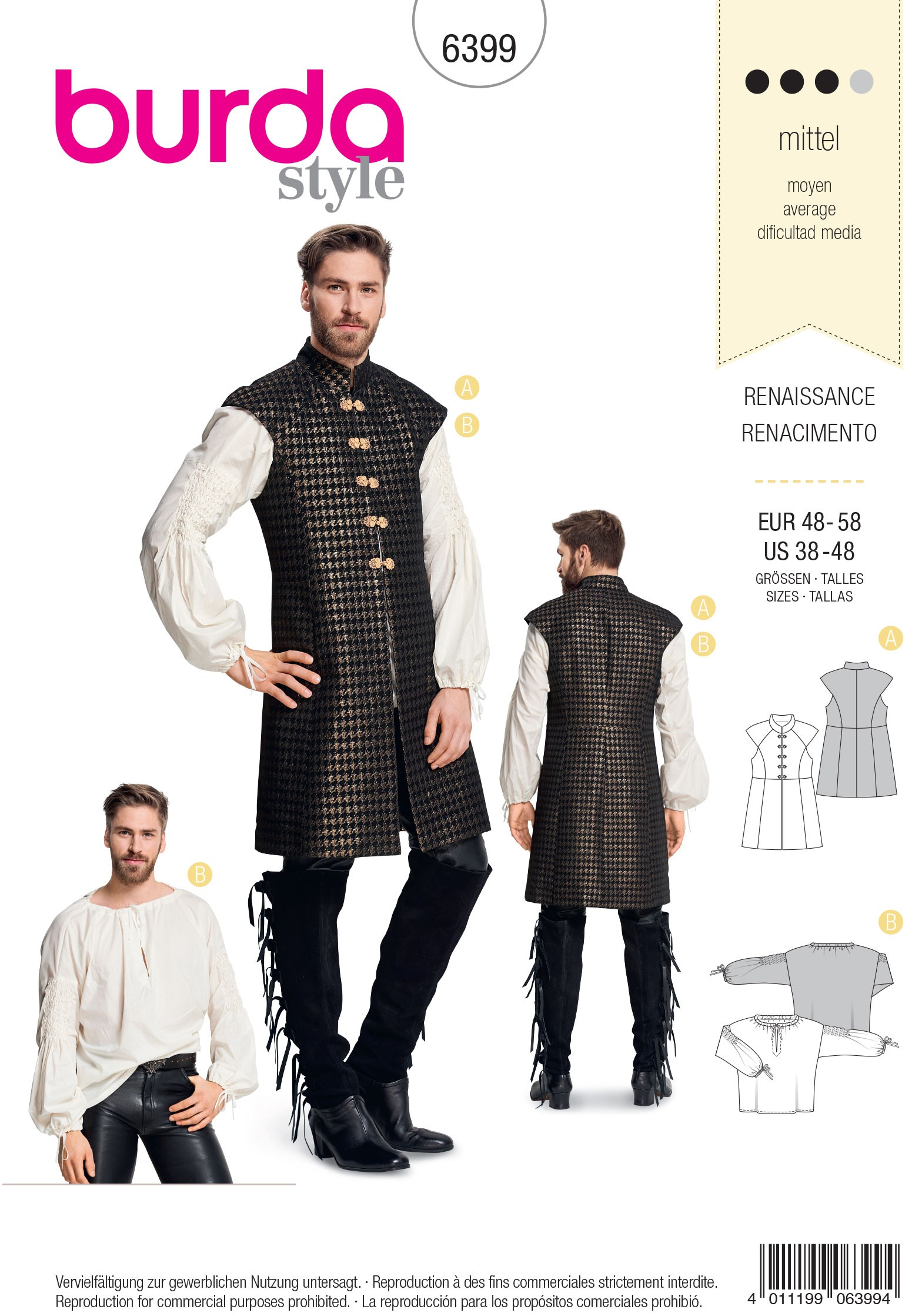 Burda Sewing Pattern 6399 Men's Renaissance Shirt Fancy Dress Costumes