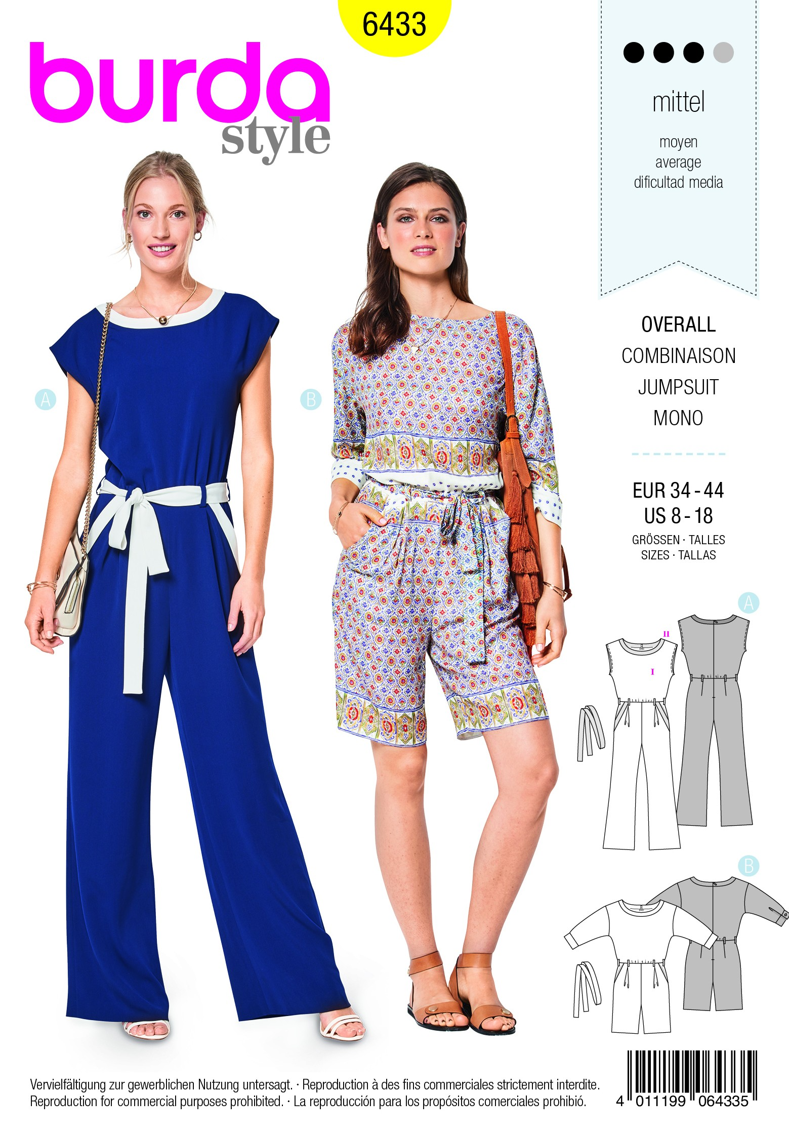 Burda Sewing Pattern 6433 Woman's Light Summer Jumpsuit