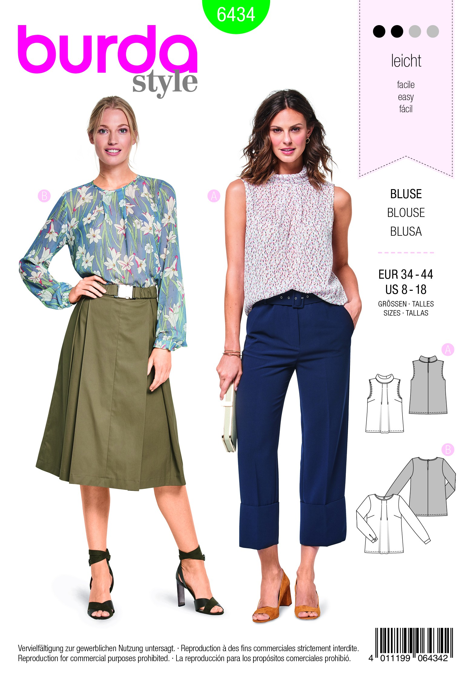 Burda Sewing Pattern 6434 Woman's Feminine Blouse with Pleats and Slit in Back