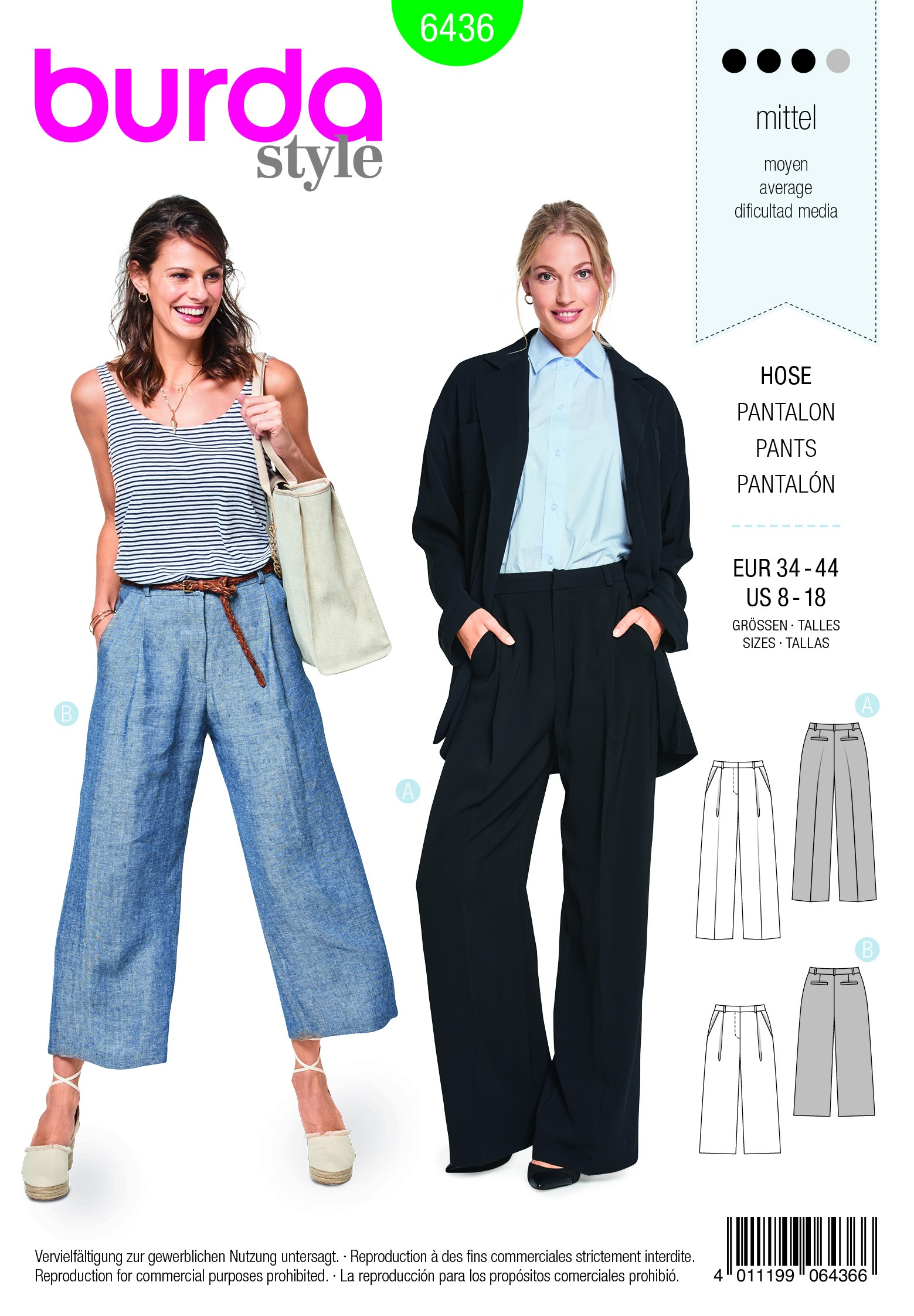 Burda Sewing Pattern 6436 Woman's Wide Leg Summer Classic Trousers