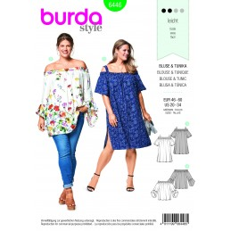 Burda Sewing Pattern 6444 Woman's Elastic Waist Plus Size Jumpsuit