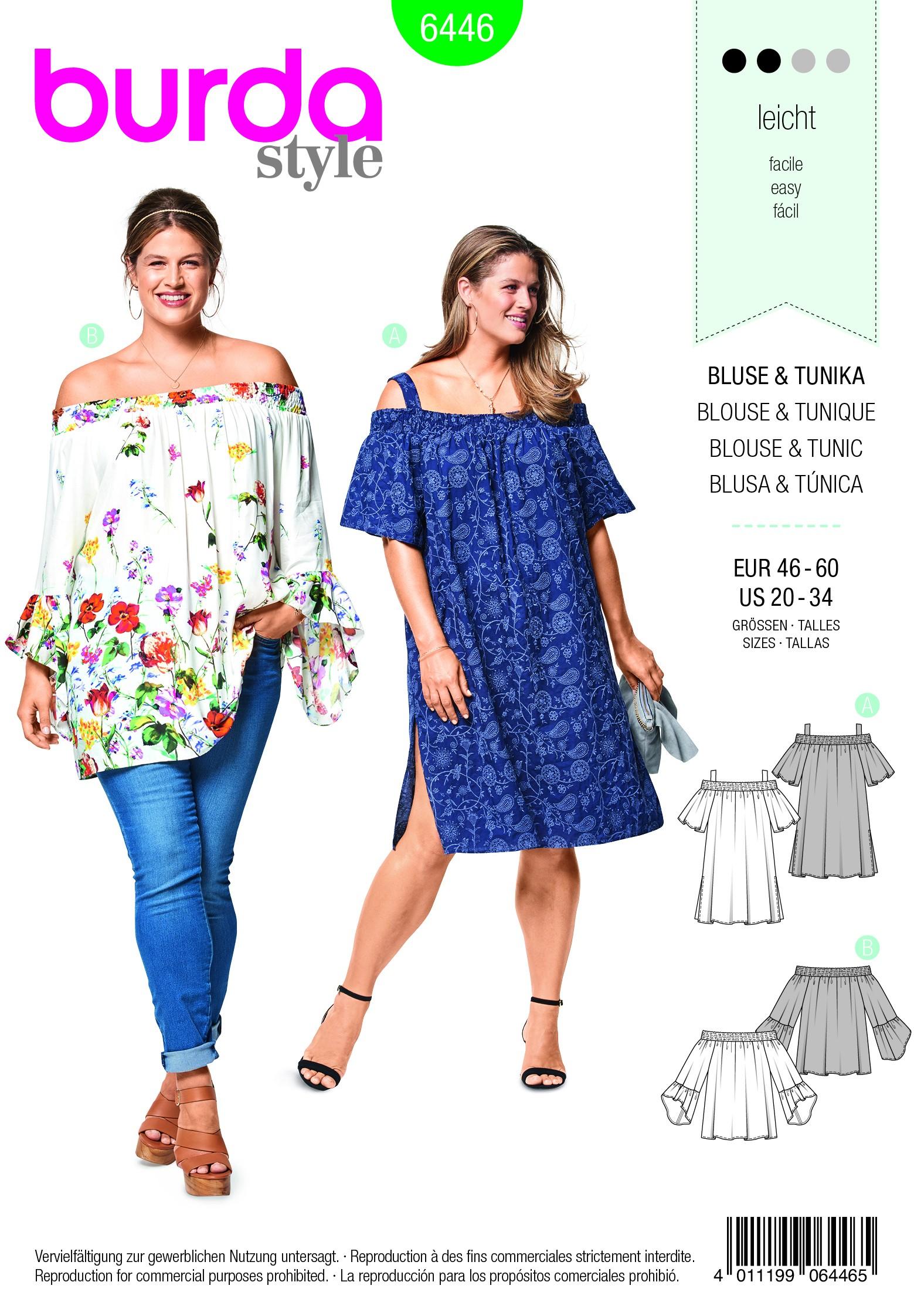 Burda Sewing Pattern 6444 Woman's Elastic Waist Plus Size Jumpsuit