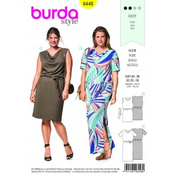 Burda Sewing Pattern 6448 Woman's Plus Size Loose Fitting Dress