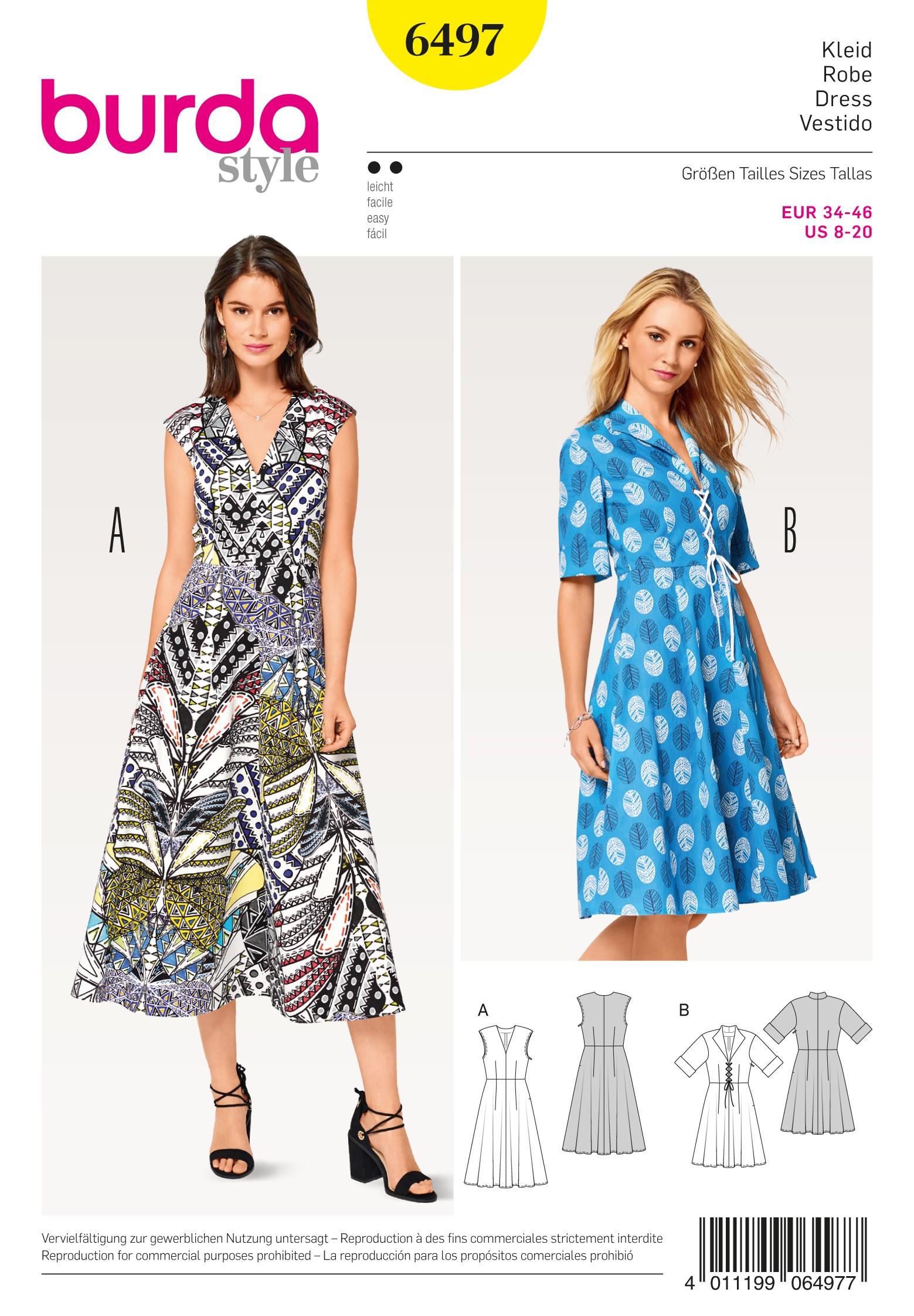 Burda Sewing Pattern 6496 Woman's Feminine High Waisted Dress