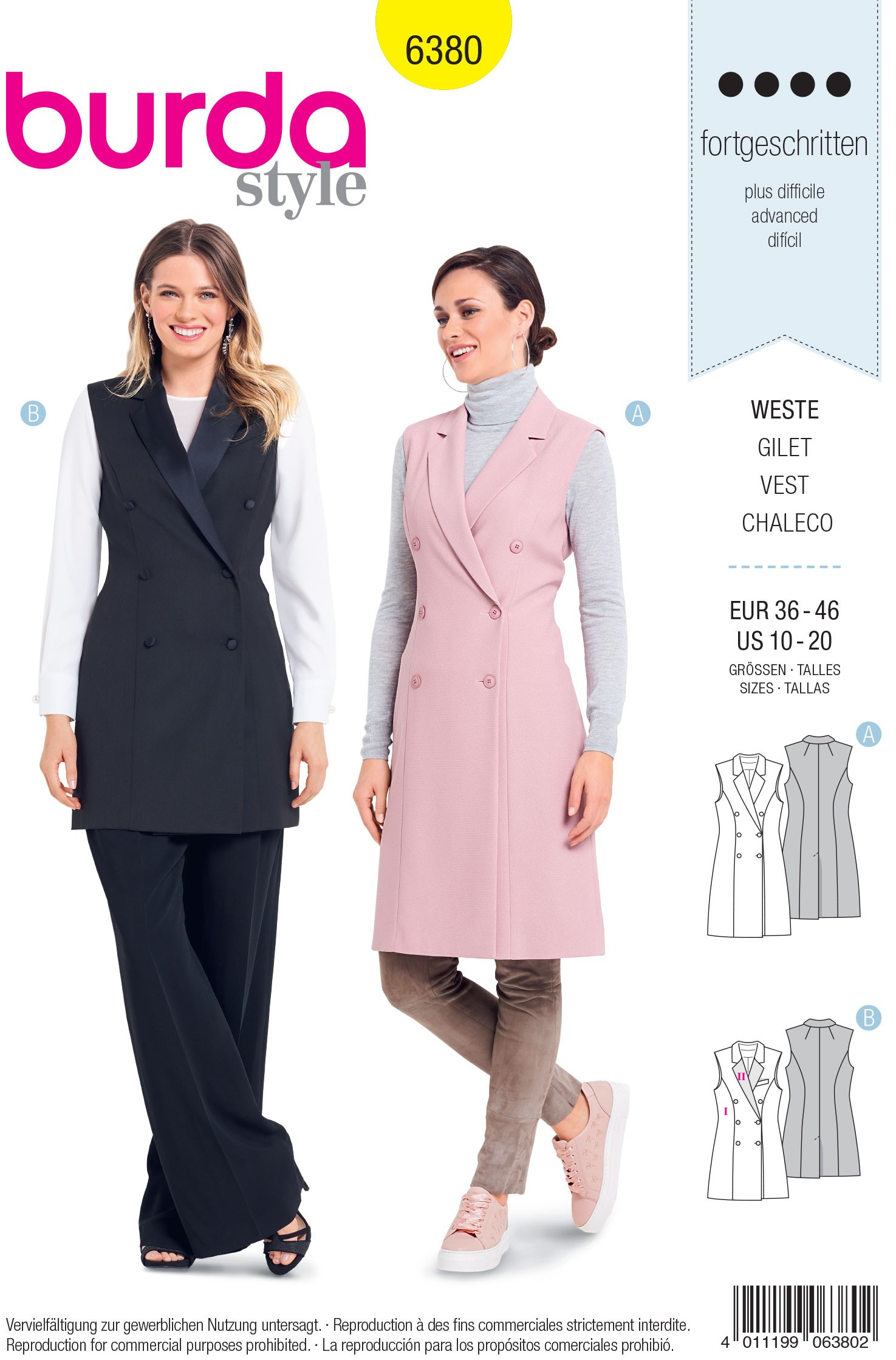 Burda Sewing Pattern 6380 Style Woman's Stylish Double Breasted Coat