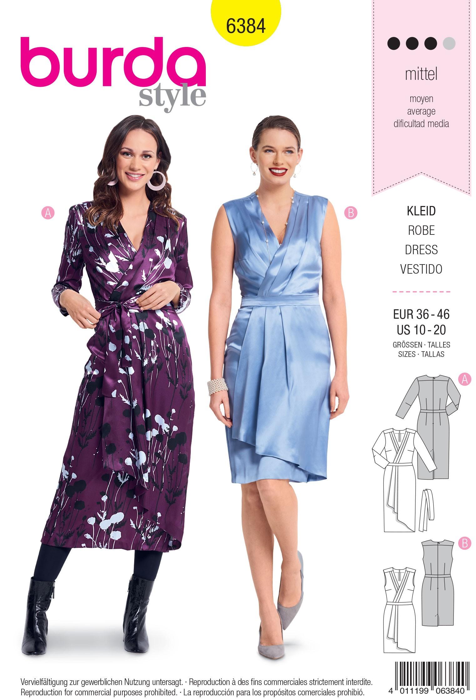 Burda Sewing Pattern 6384 Style Woman's Feminine Wrap Dress