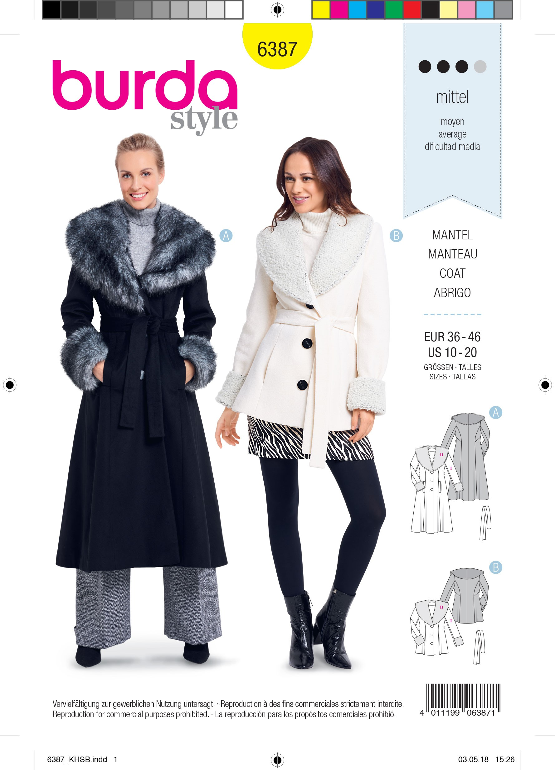 Burda Sewing Pattern 6387 Style Woman's Shawl Collar Coat