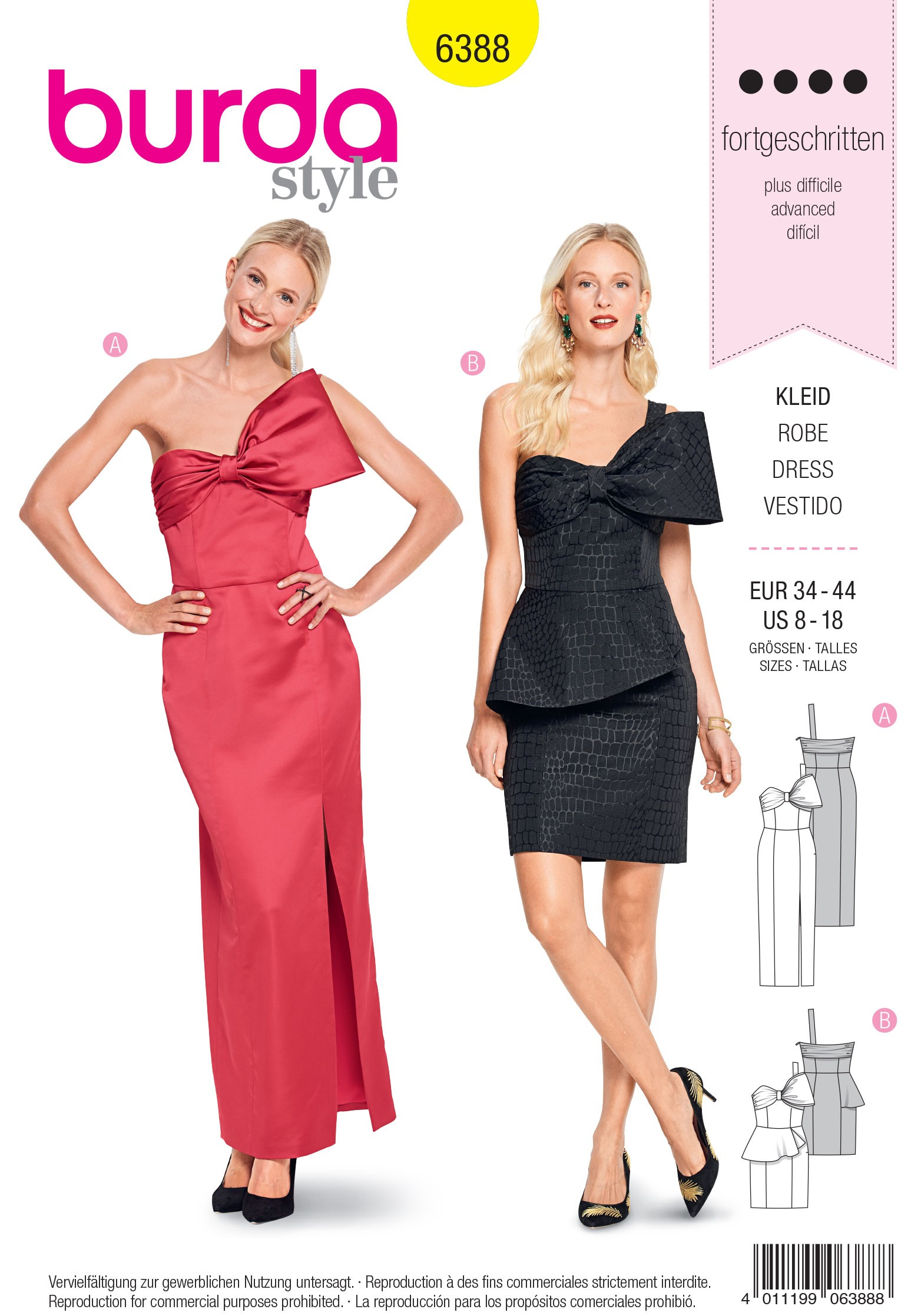 Burda Sewing Pattern 6388 Style Woman's Retro Gown Dress with Bow