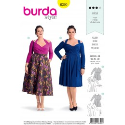 Burda Sewing Pattern 6390 Style Woman's Plus Size High Waisted Dress