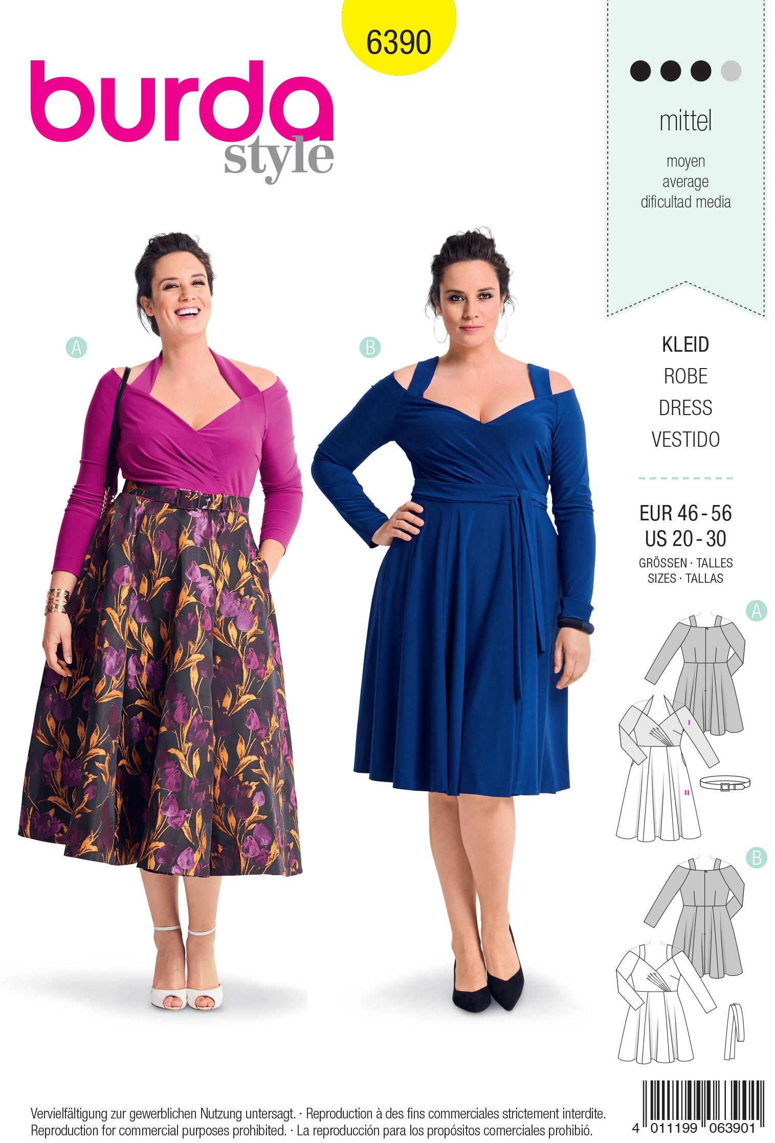 Burda Sewing Pattern 6390 Style Woman's Plus Size High Waisted Dress
