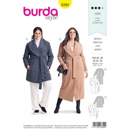 Burda Sewing Pattern 6394 Style Womans' Plus Size Long Wrap Winter Coat