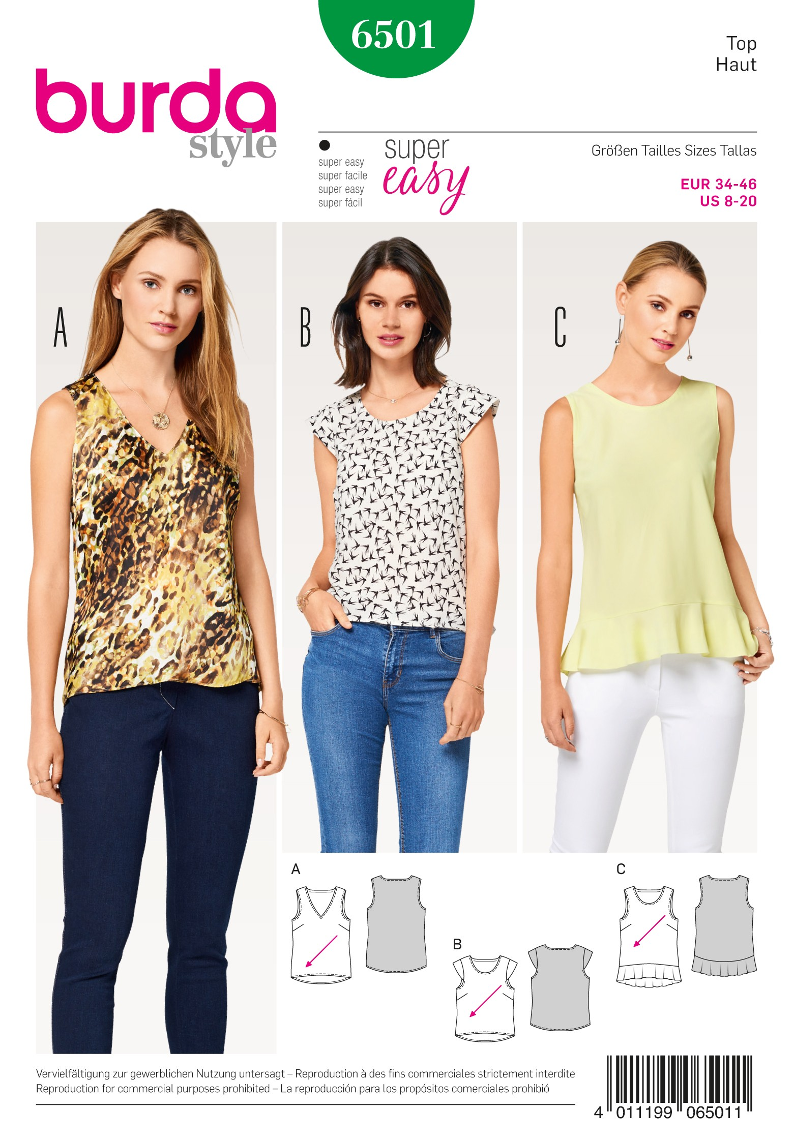 Burda Sewing Pattern 6501 Women's Summer Tops With Flounce Size 8-20