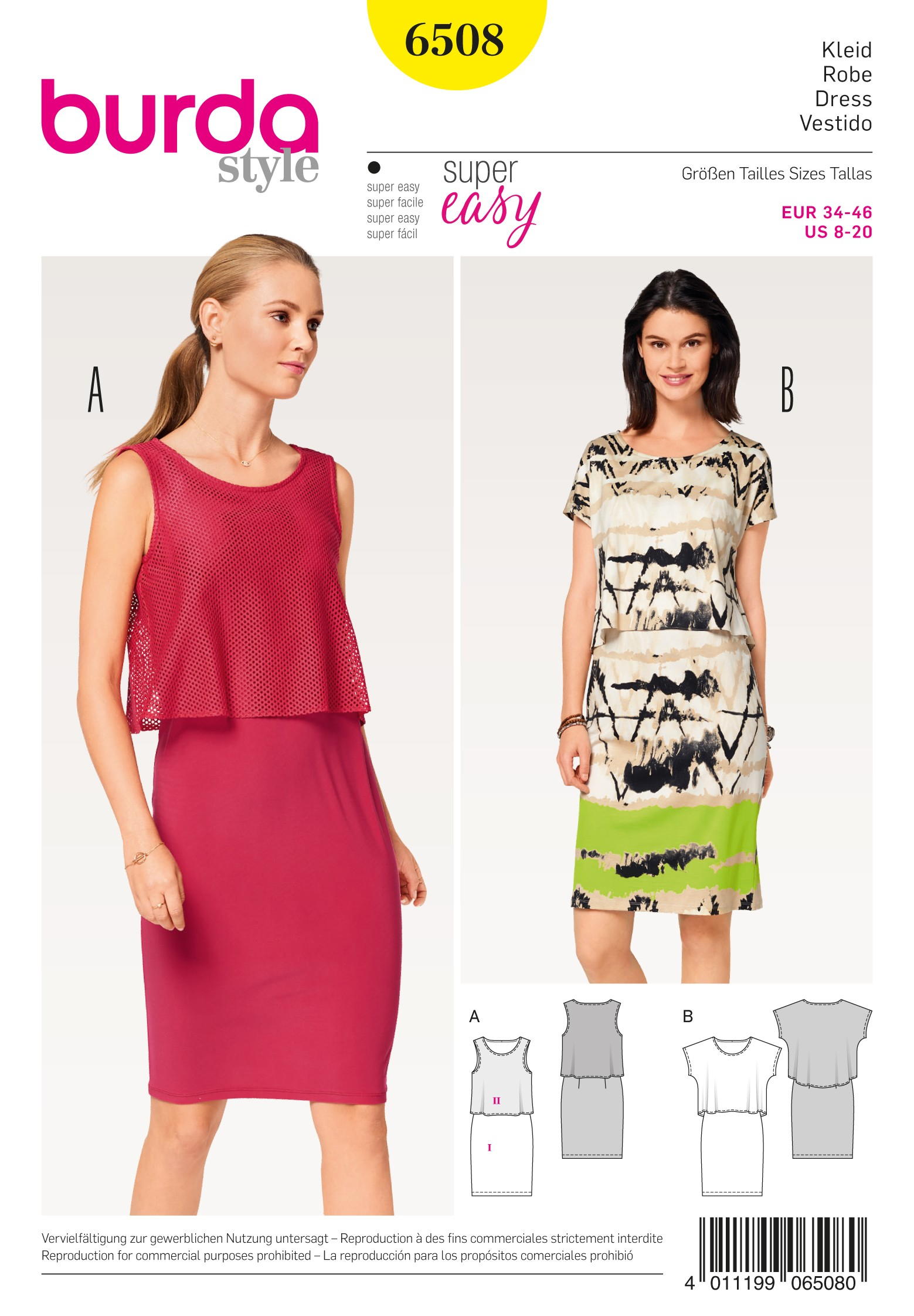 Burda Sewing Pattern 6508 Style Misses' Dress Tops