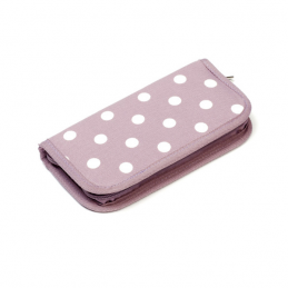 Sale Hobbygift Filled Crochet Hook Case Knitting Craft Storage Mauve Polka Dots Spots