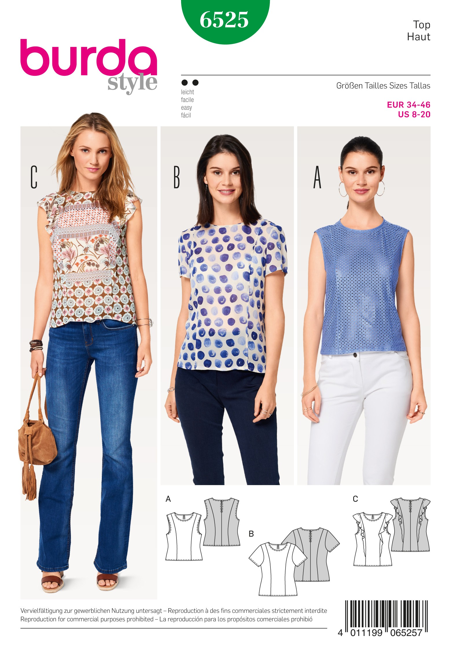 Burda Sewing Pattern 6525 Style Women's Misses' Blouse Size 8-20