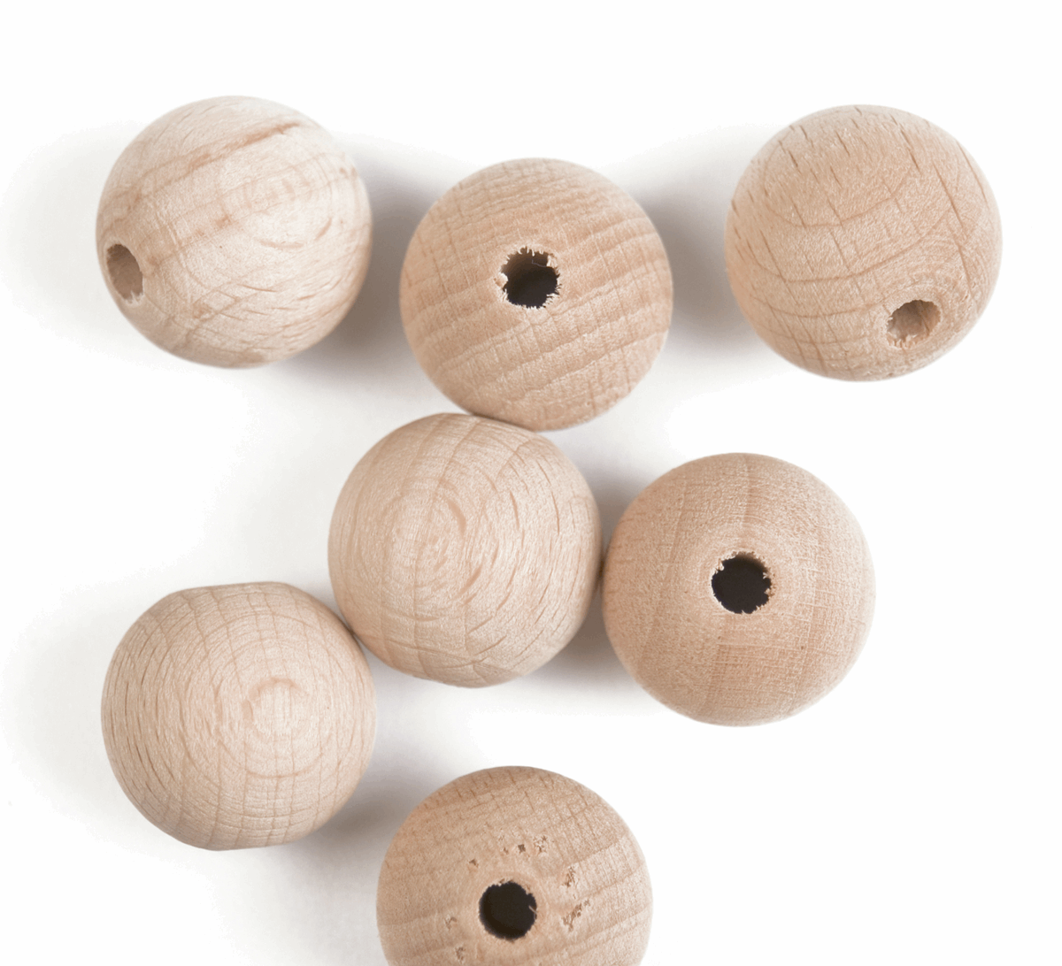 20mm Craft Factory Natural Beechbeads Wooden Craft Balls Pack of 7
